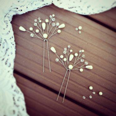 Воздушно-жемчужные украшения в свадебную прическу